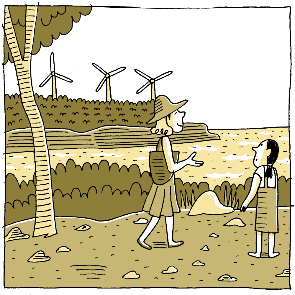 Walking alongside some wind turbines, she explains to her how a wind map is made.