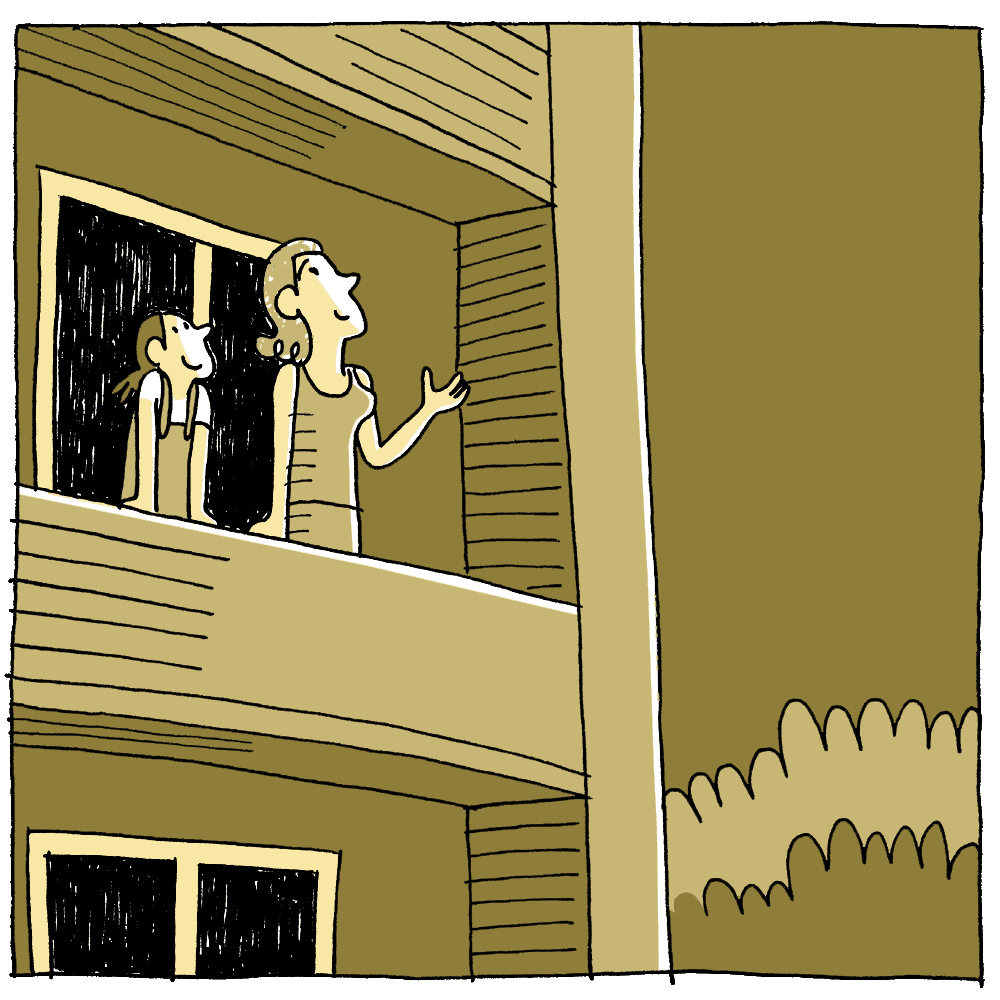 Later, on their balcony, they look at the starry sky together.